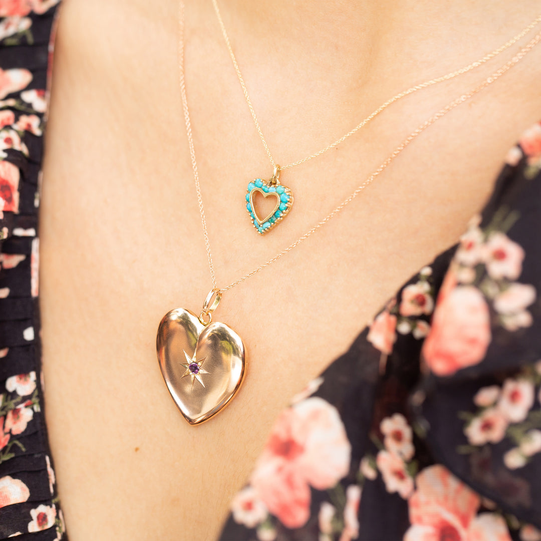 Open Heart 14k Gold and Turquoise Charm