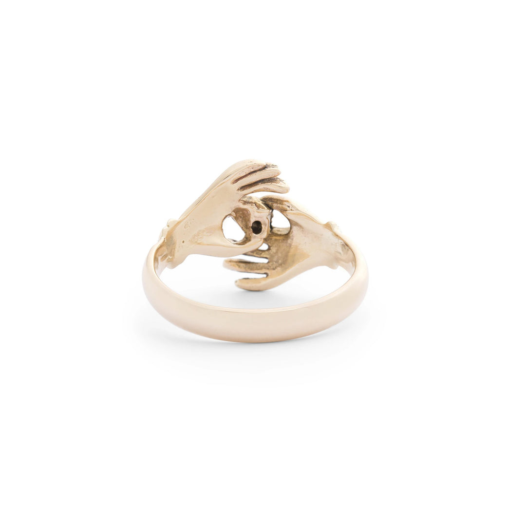 Crossing Hands Diamond and 14k Gold Ring