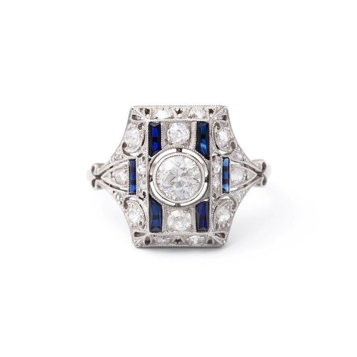 Austrian Art Deco Old European Cut Diamond and Sapphires Platinum Ring