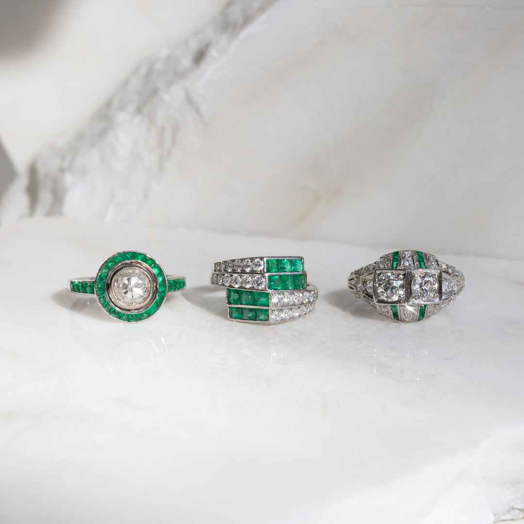 Art Deco Old European Cut Diamond and Emerald 18k White Gold Ring