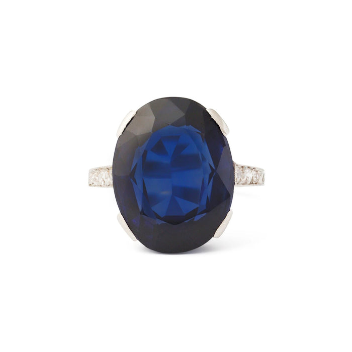 Art Deco Synthetic Sapphire and Diamond Platinum Ring
