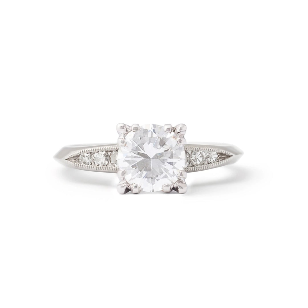 1950s Round Brilliant Diamond And Platinum Engagement Ring