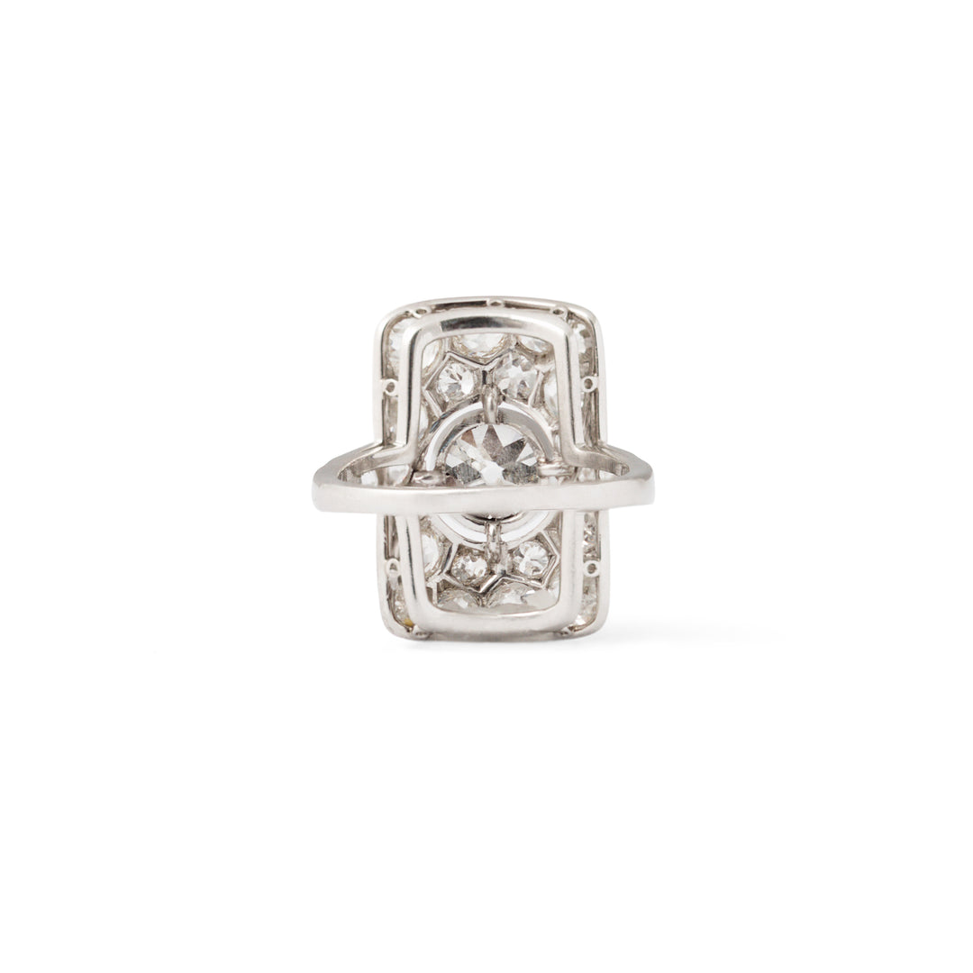 Art Deco Old European Cut Diamond and Platinum Rectangular Ring