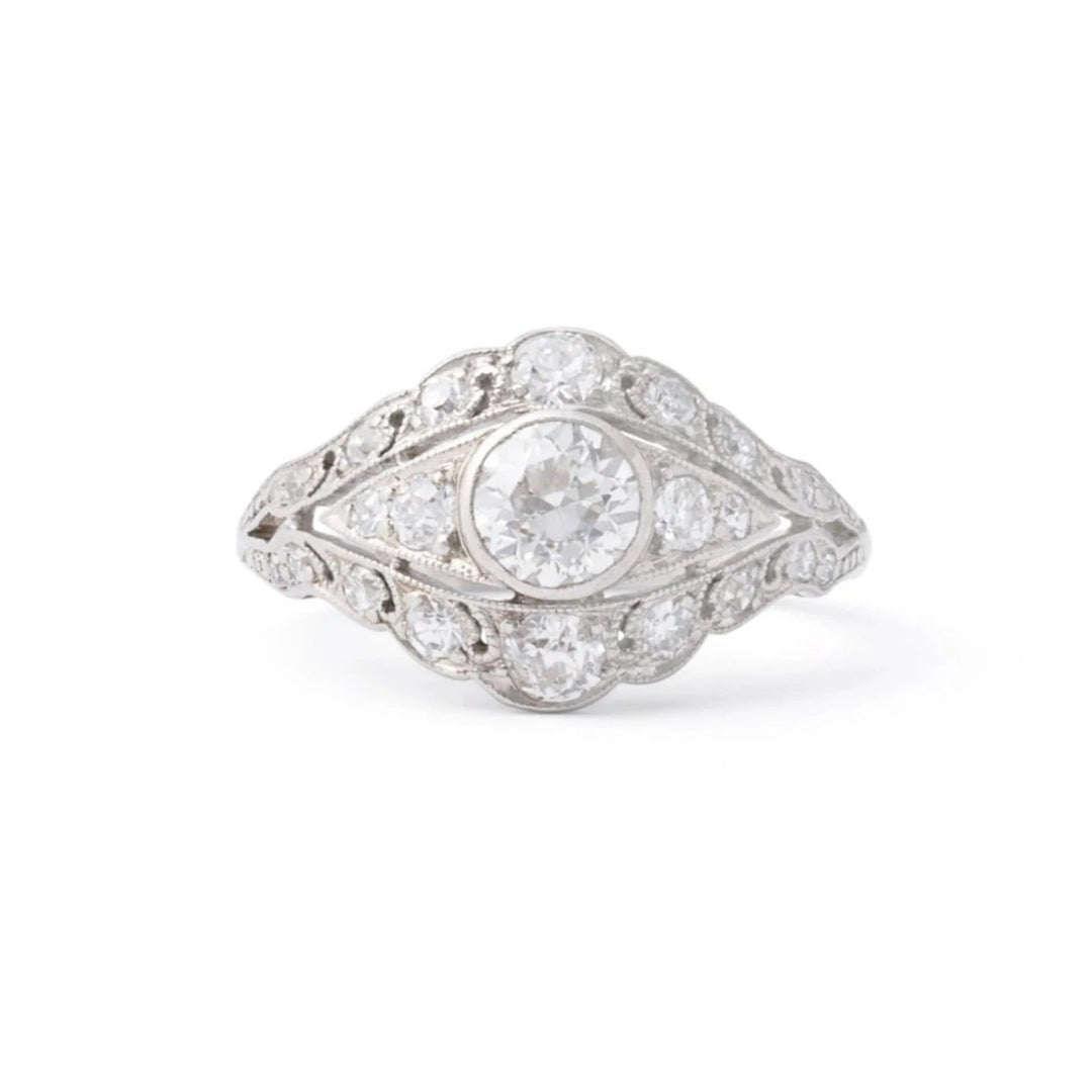 "Edwardian ""Eye"" Old European Cut Diamond and Platinum Ring"
