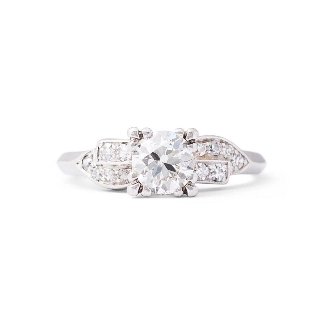 Transitional Round Brilliant Diamond and Platinum Engagement Ring