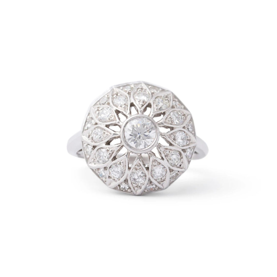Floral Diamond and Platinum Dome Ring