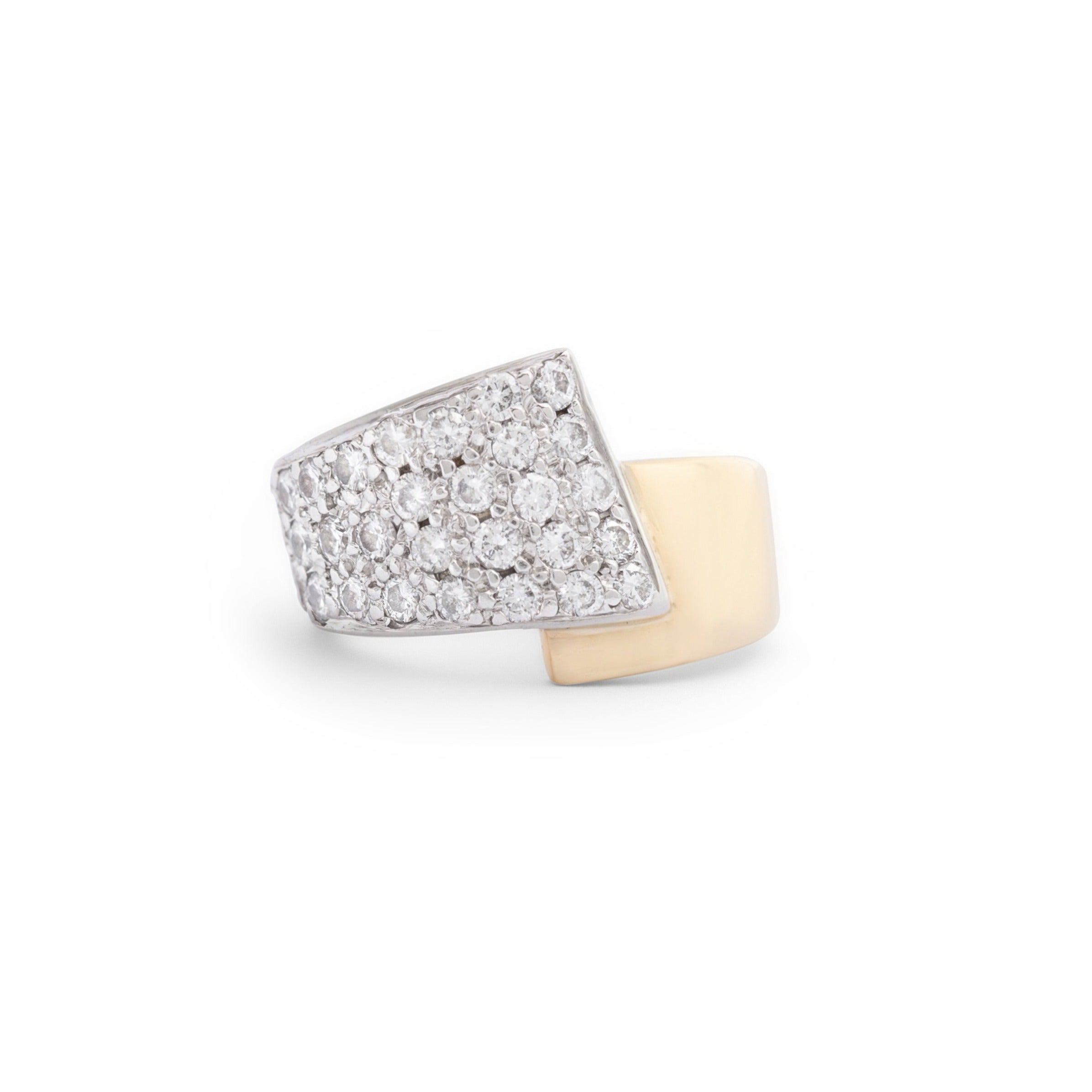 Crossover Diamond and Bi-Color 14k Gold Ring
