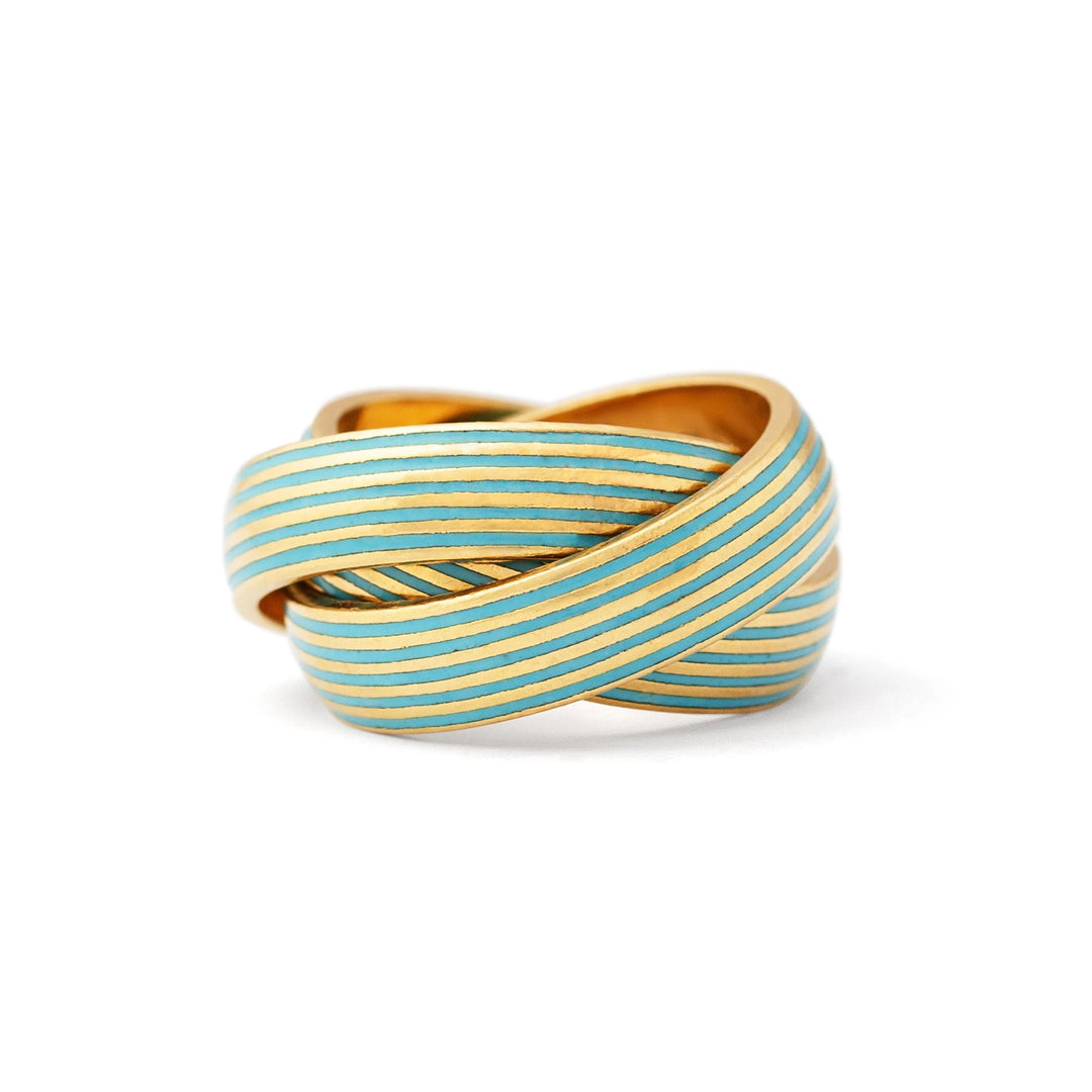 18k Yellow Gold And Blue Enamel Rolling Ring