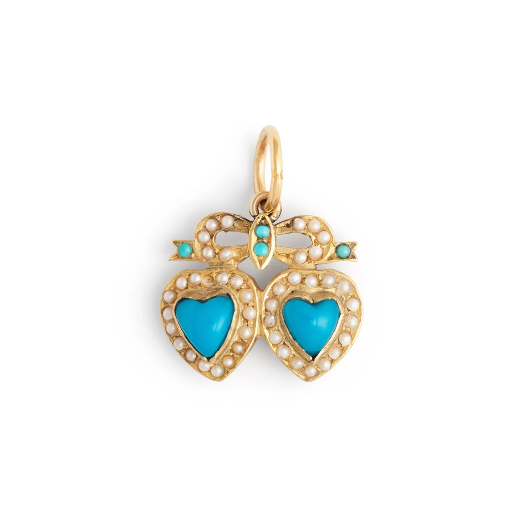 English Victorian Double Heart Turquoise and Pearl Gold Charm