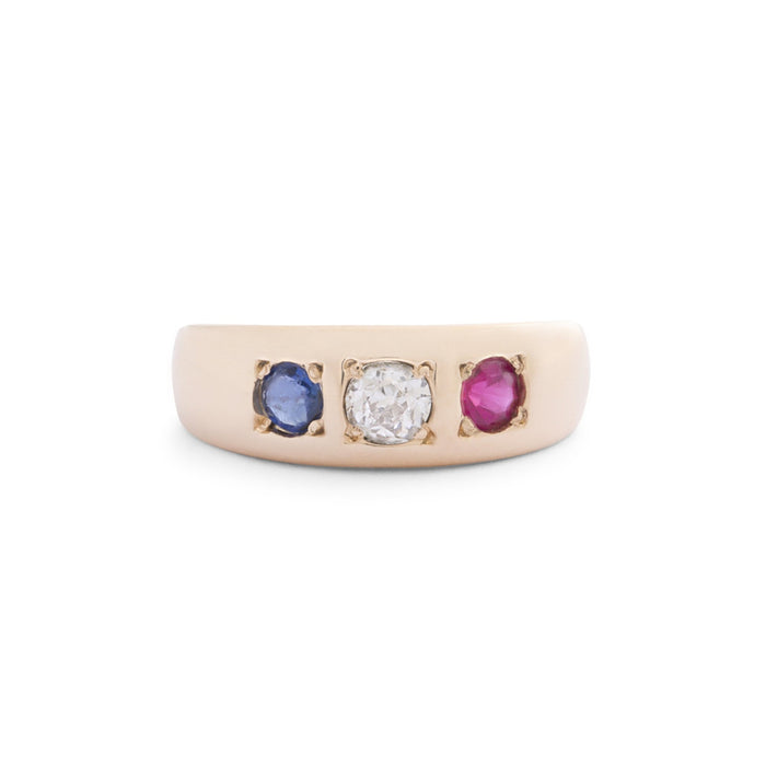 Victorian Ruby, Diamond, And Sapphire 14k Gold Gypsy Ring