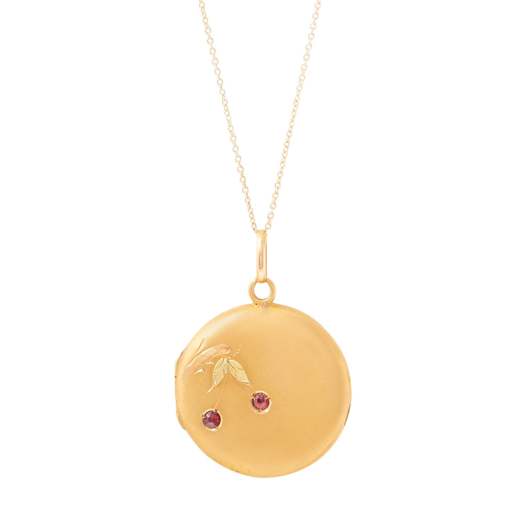 Yellow and Green 14K Gold Garnet Cherry Locket