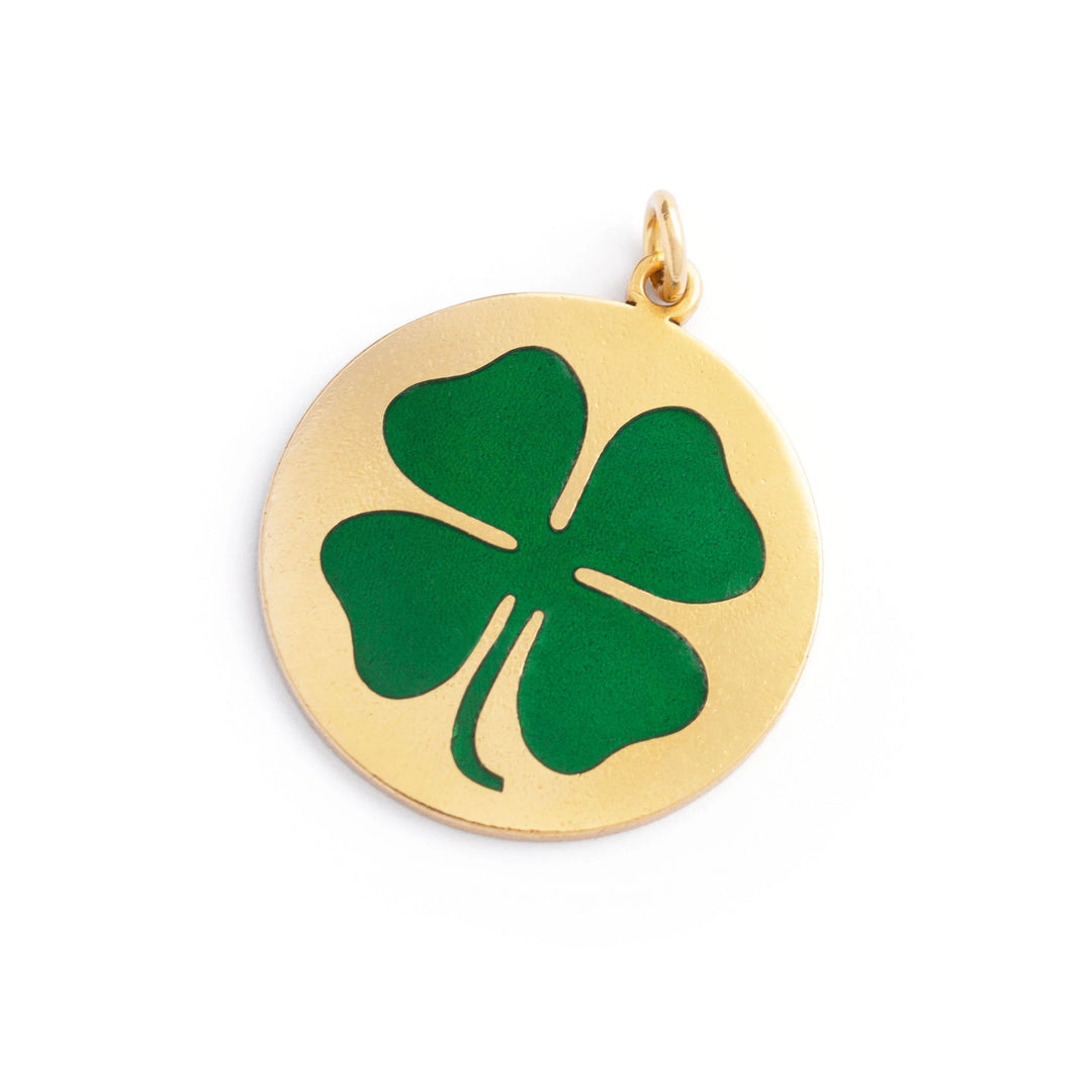 Large Four-Leaf Clover Enamel and 14K Gold Charm