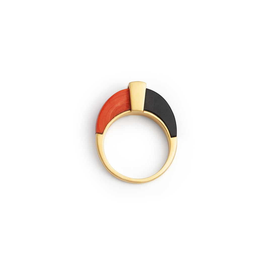 Modernist Onyx, Coral, and Diamond 18k Gold Ring