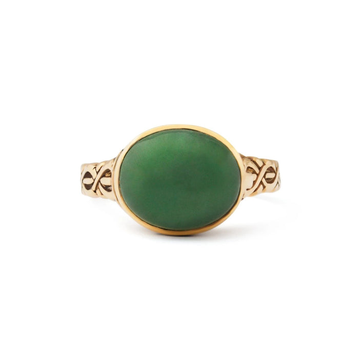 Nephrite 14k Gold Poison Locket Ring