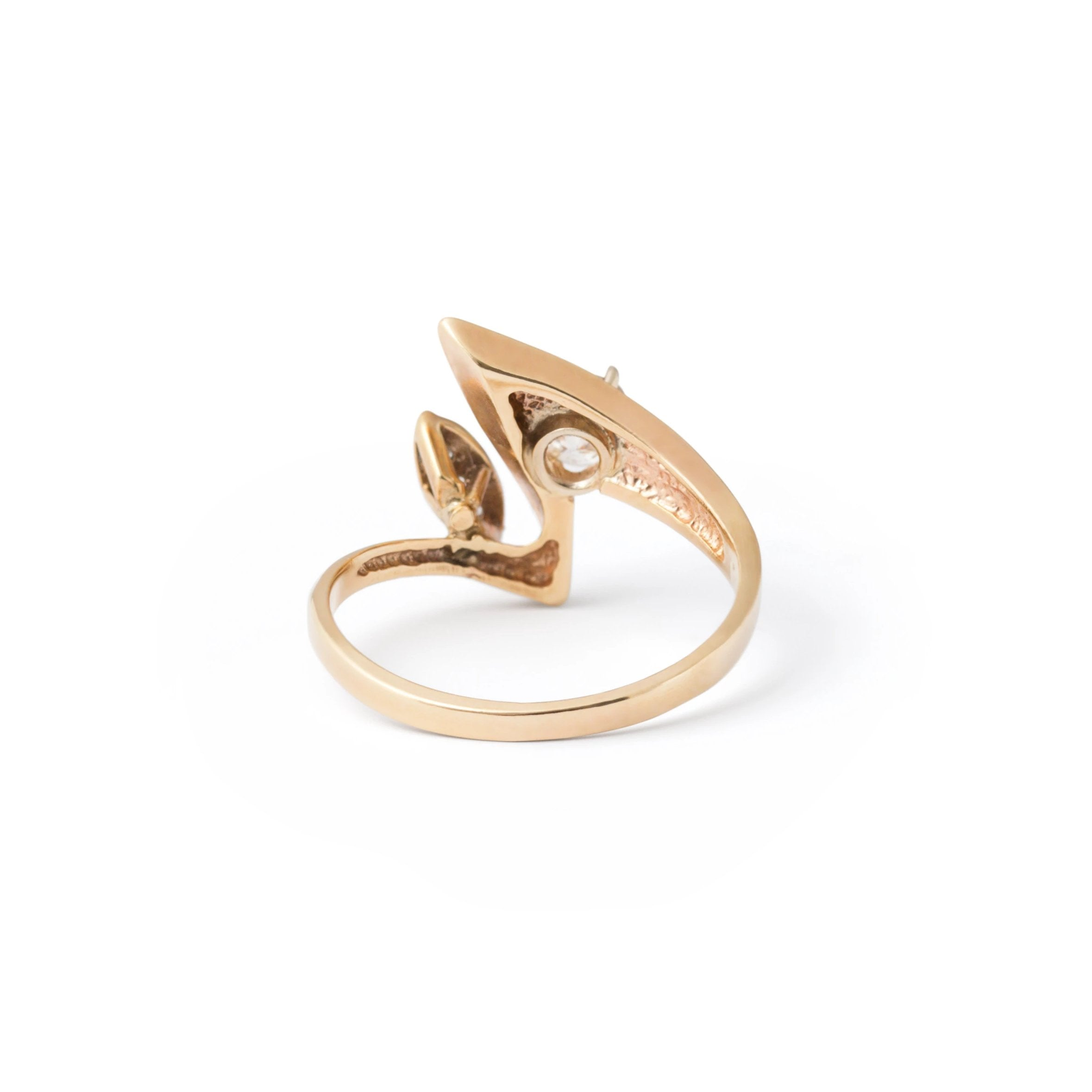"Abstract ""Zigzag"" Diamond and 14k Gold Ring"