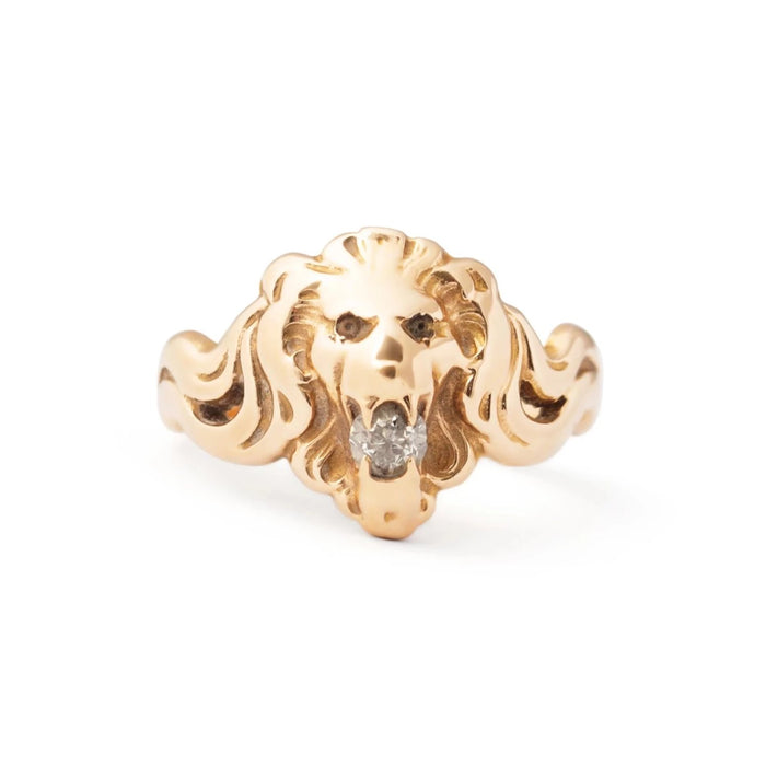 Victorian Diamond and 10k Gold Lion's Head Ring