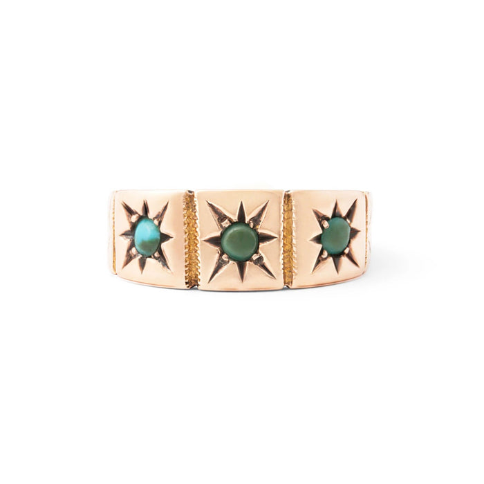 Victorian Turquoise Starburst and 9k Gold Ring
