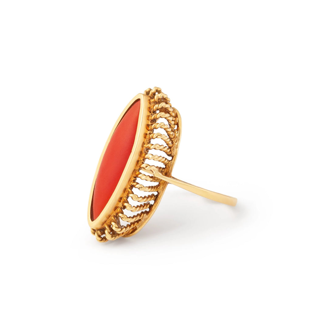 Red Coral 18k Gold Navette Ring