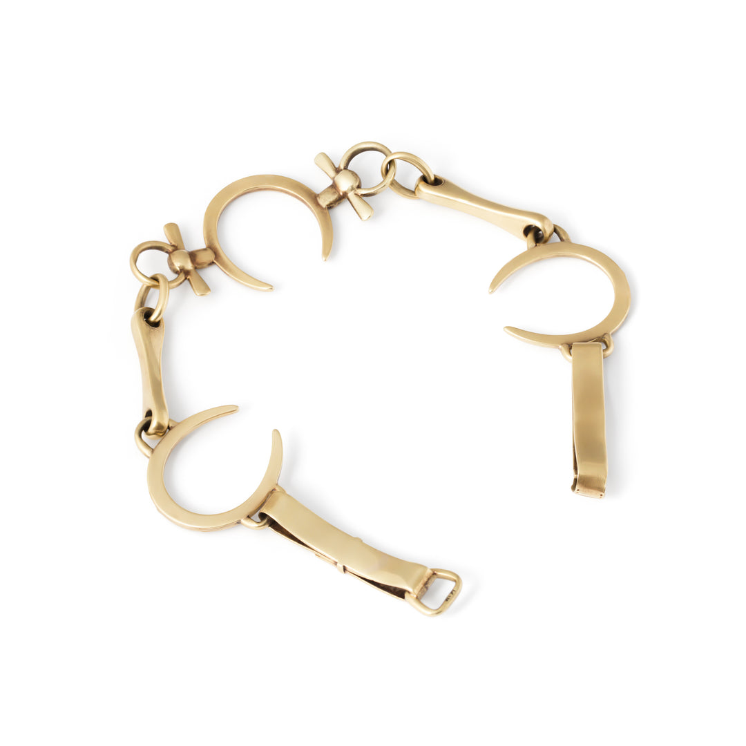 Victorian Horseshoe and 14k Gold Link Bracelet