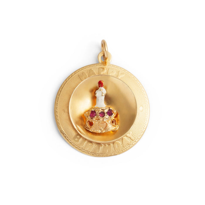 Happy Birthday Charm with Ruby, Enamel, and 14k Gold
