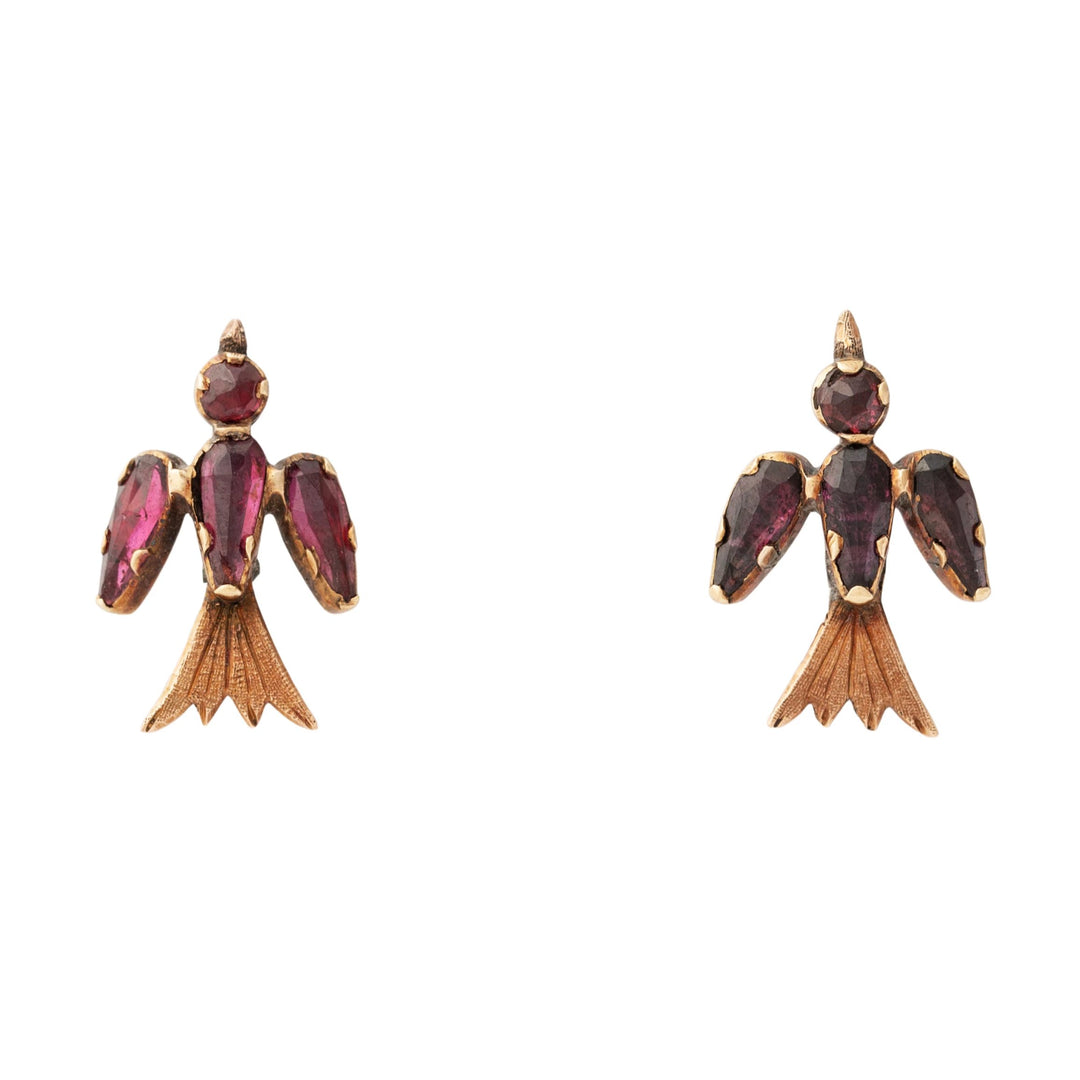 Victorian Swallow Garnet and 14k Gold Earrings
