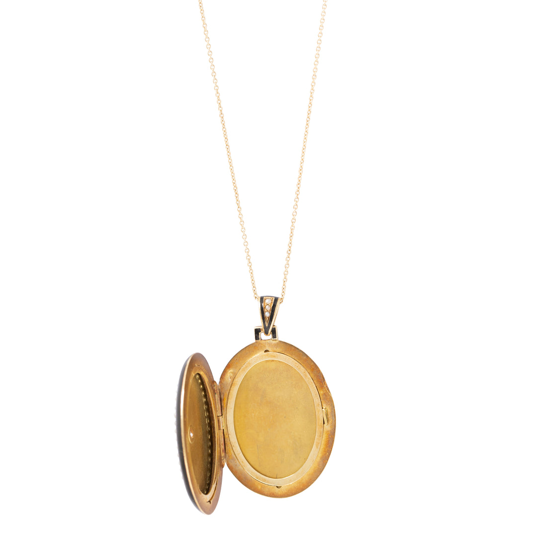 Victorian Diamond, Pearl, and Enamel 14k Gold Locket