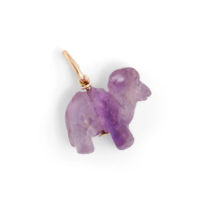Carved Amethyst Animal 14k Gold Charm