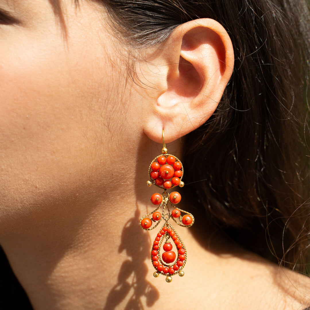Coral and 18k Gold Dangle Earrings