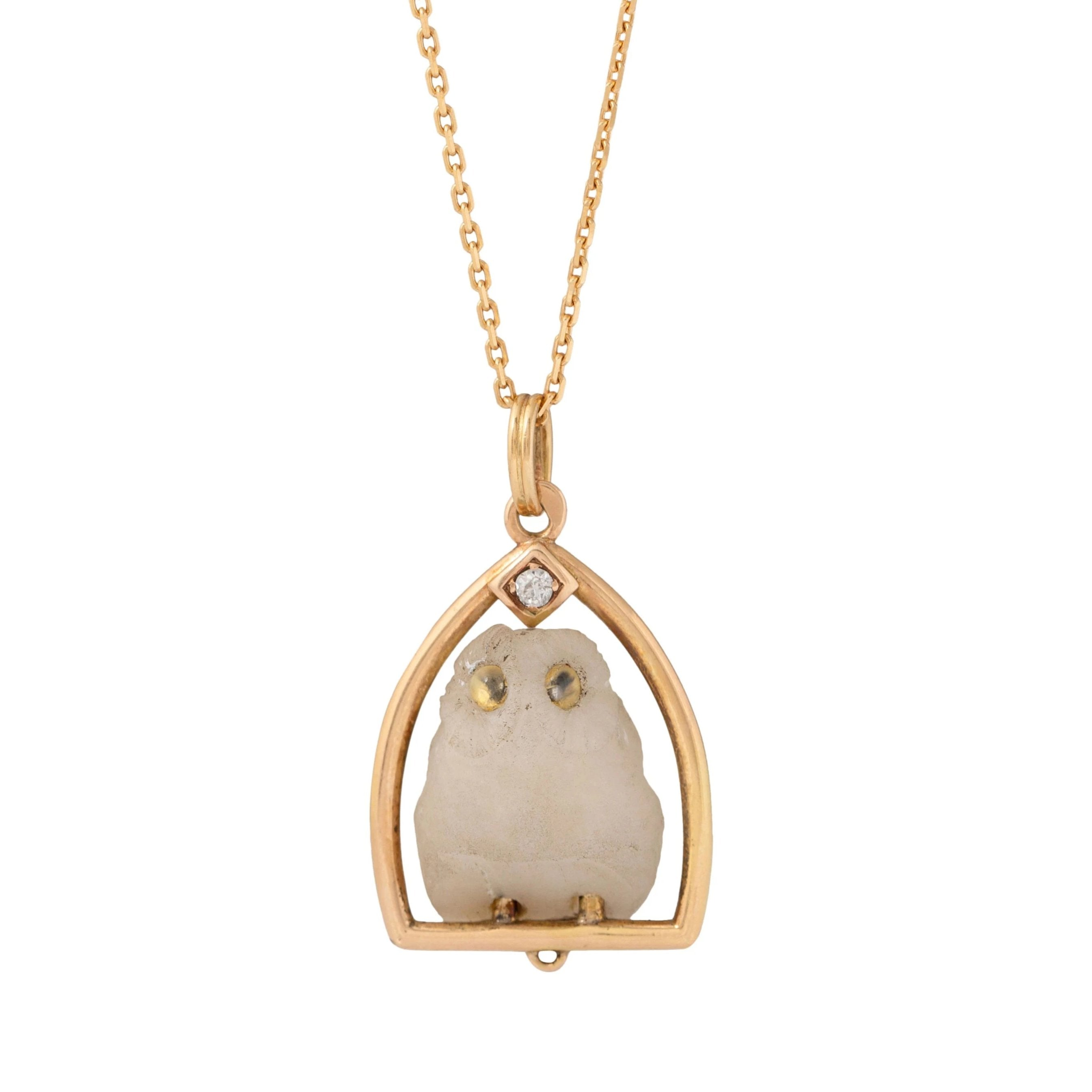Russian Carved Owl and Diamond 14k Gold Necklace
