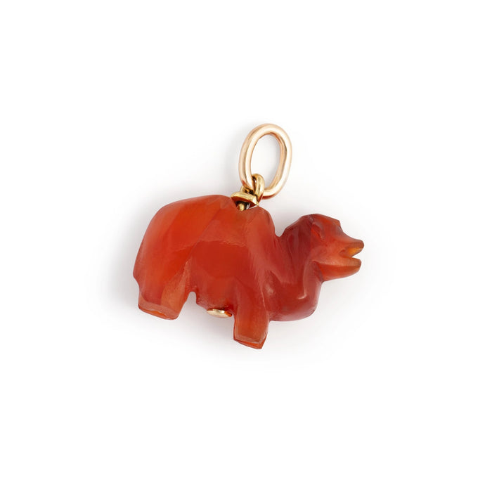 Carved Carnelian Animal 14k Gold Charm