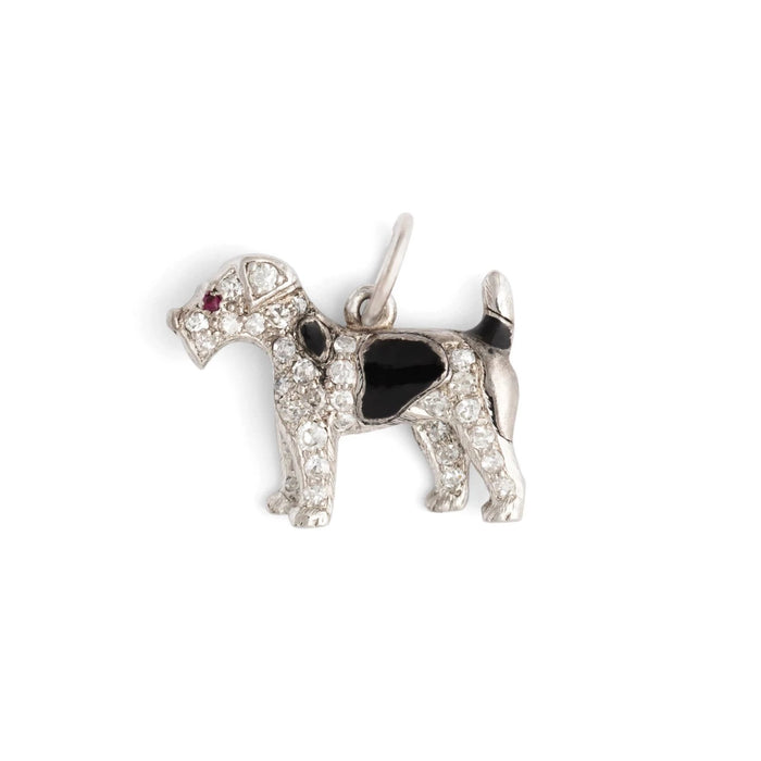 Art Deco Diamond, Ruby, Enamel, and Platinum Dog Charm