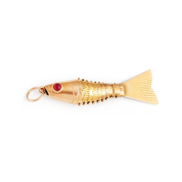 Articulated Fish 18k Gold Charm