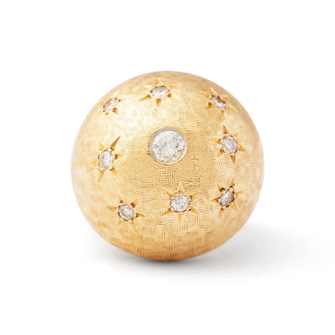 Retro Large Bombe Diamond Starburst and 14k Gold Ring