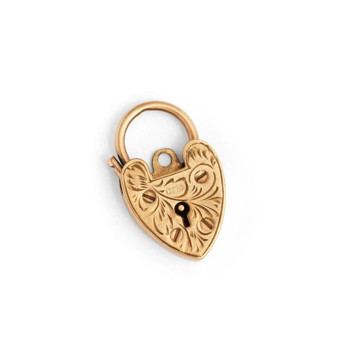 English 9k Gold Heart Padlock Charm