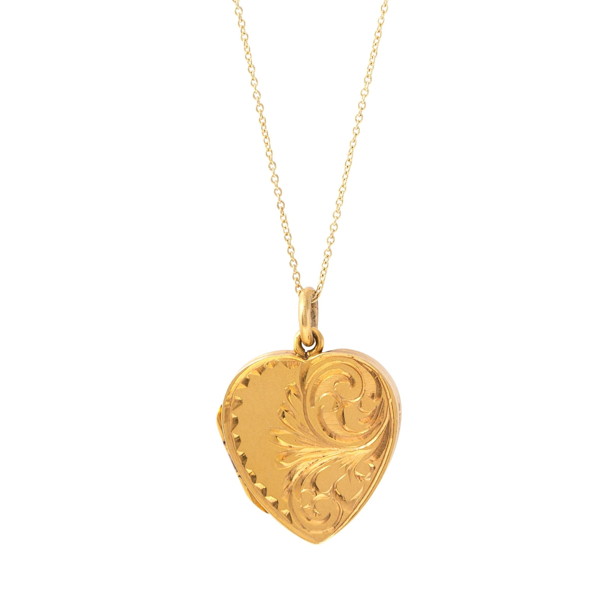English 9k Yellow Gold Engraved Scrolling Heart Locket
