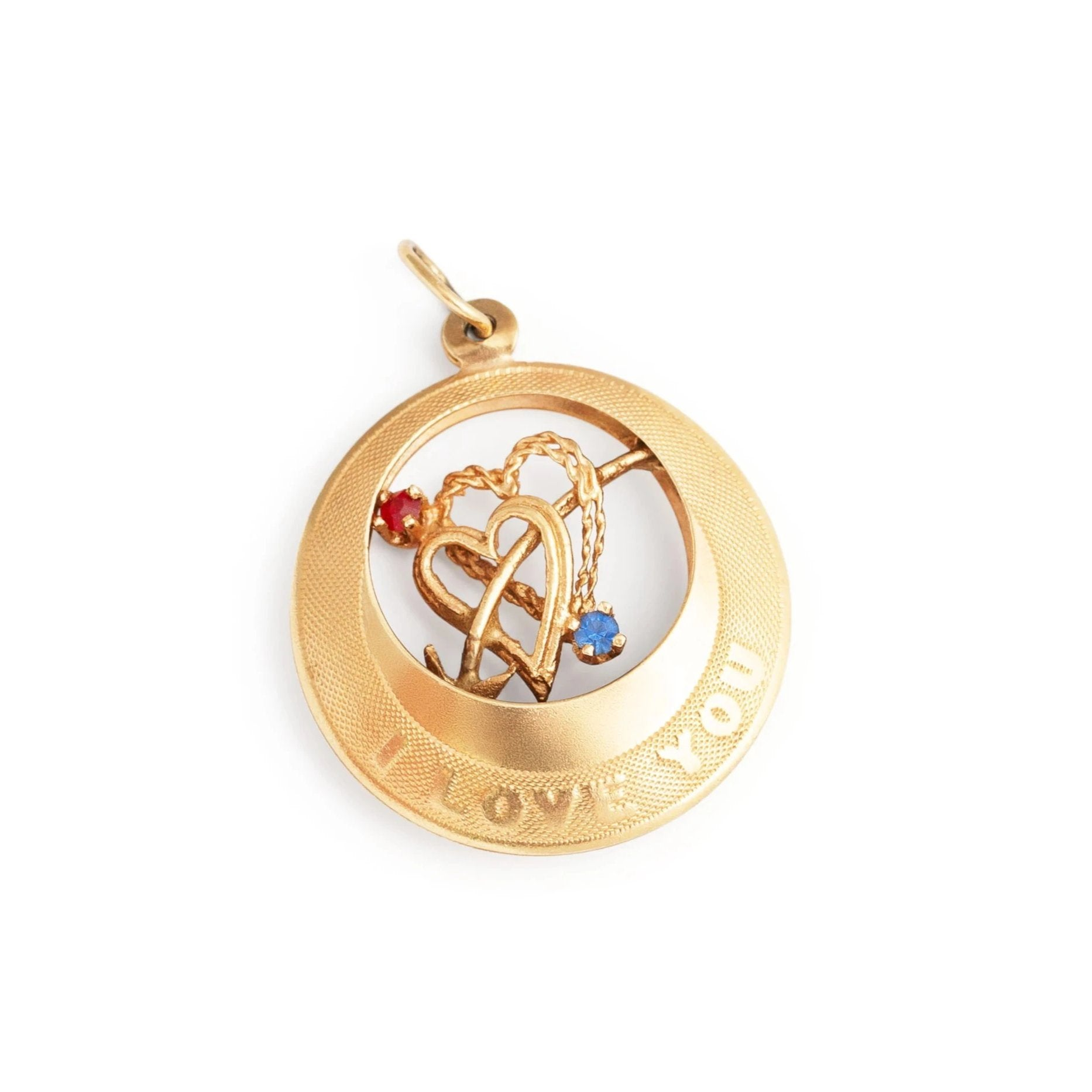 """I Love You"" Sapphire, Ruby, and 14k Yellow Gold Charm"