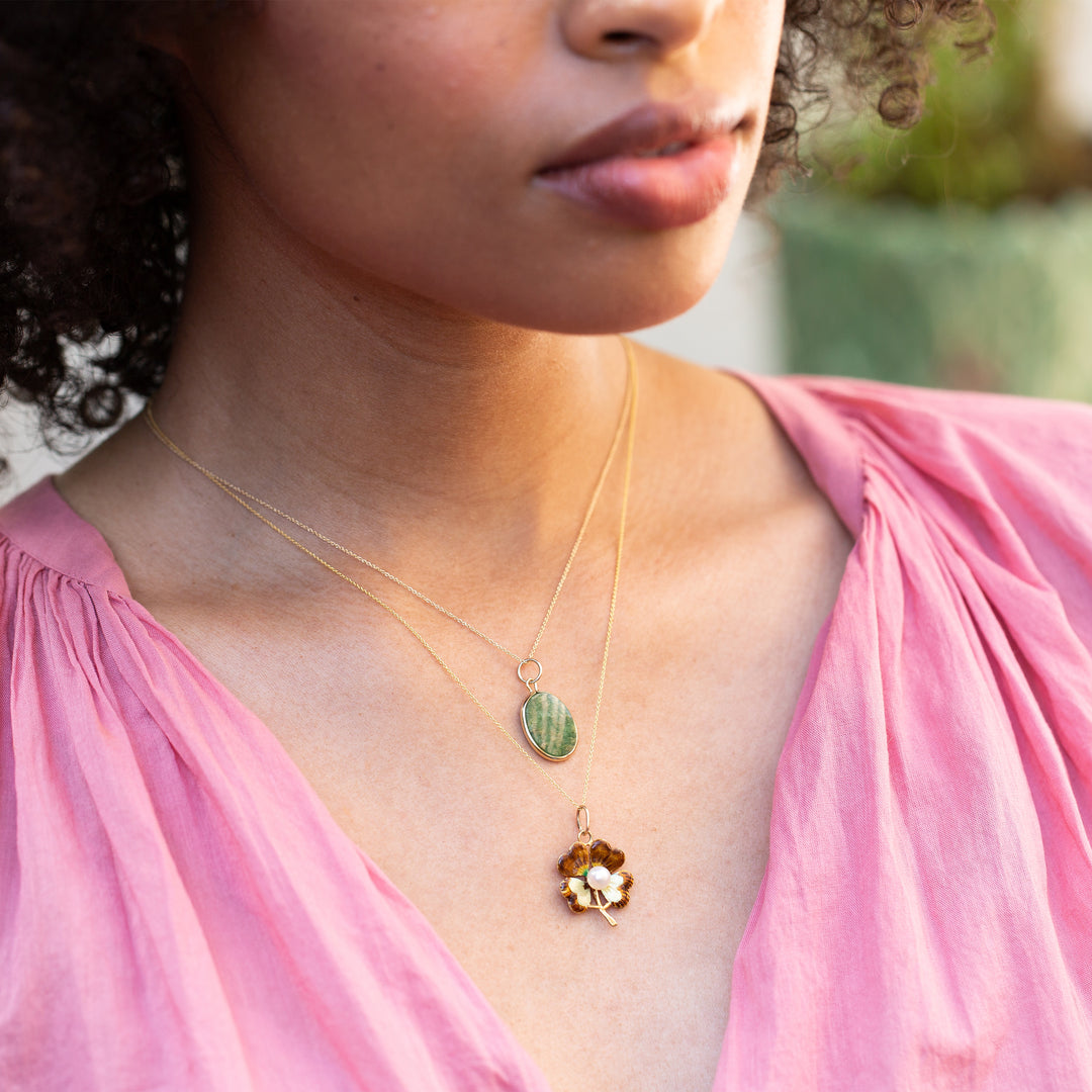 Enamel, Pearl, and 14K Gold Clover Charm