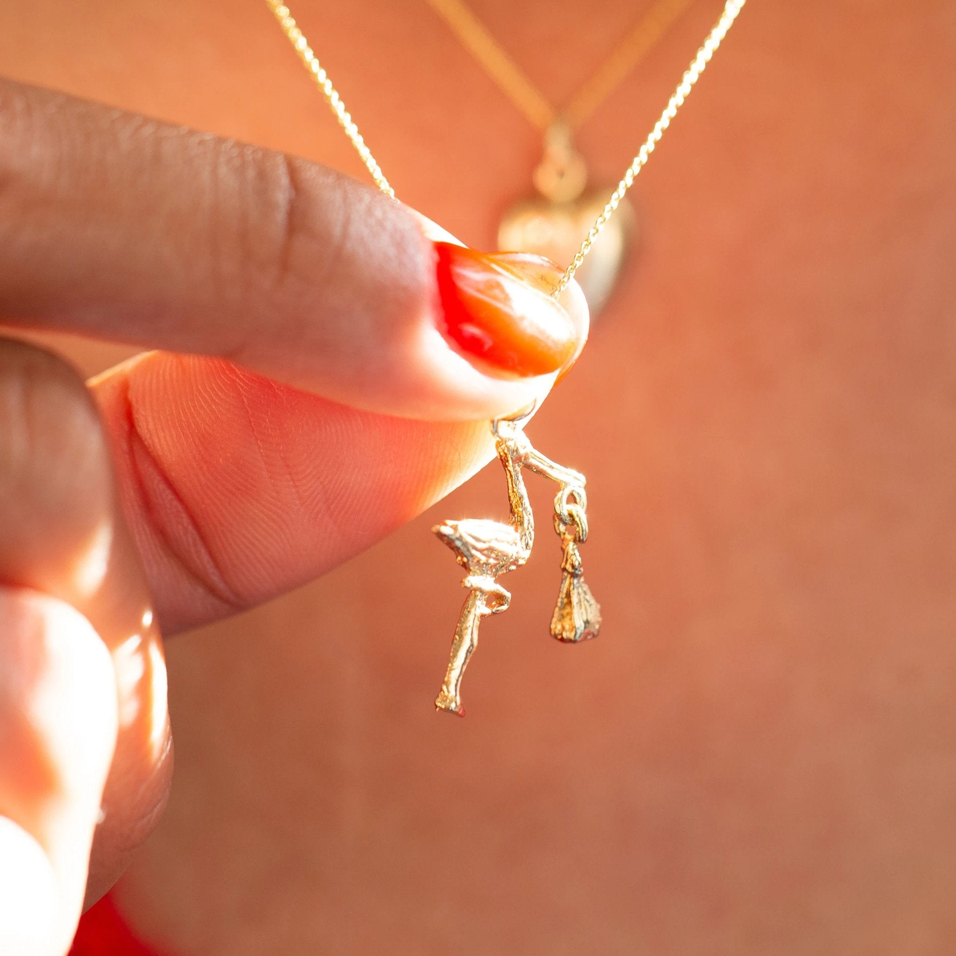 Movable Stork and Baby 14k Gold Charm