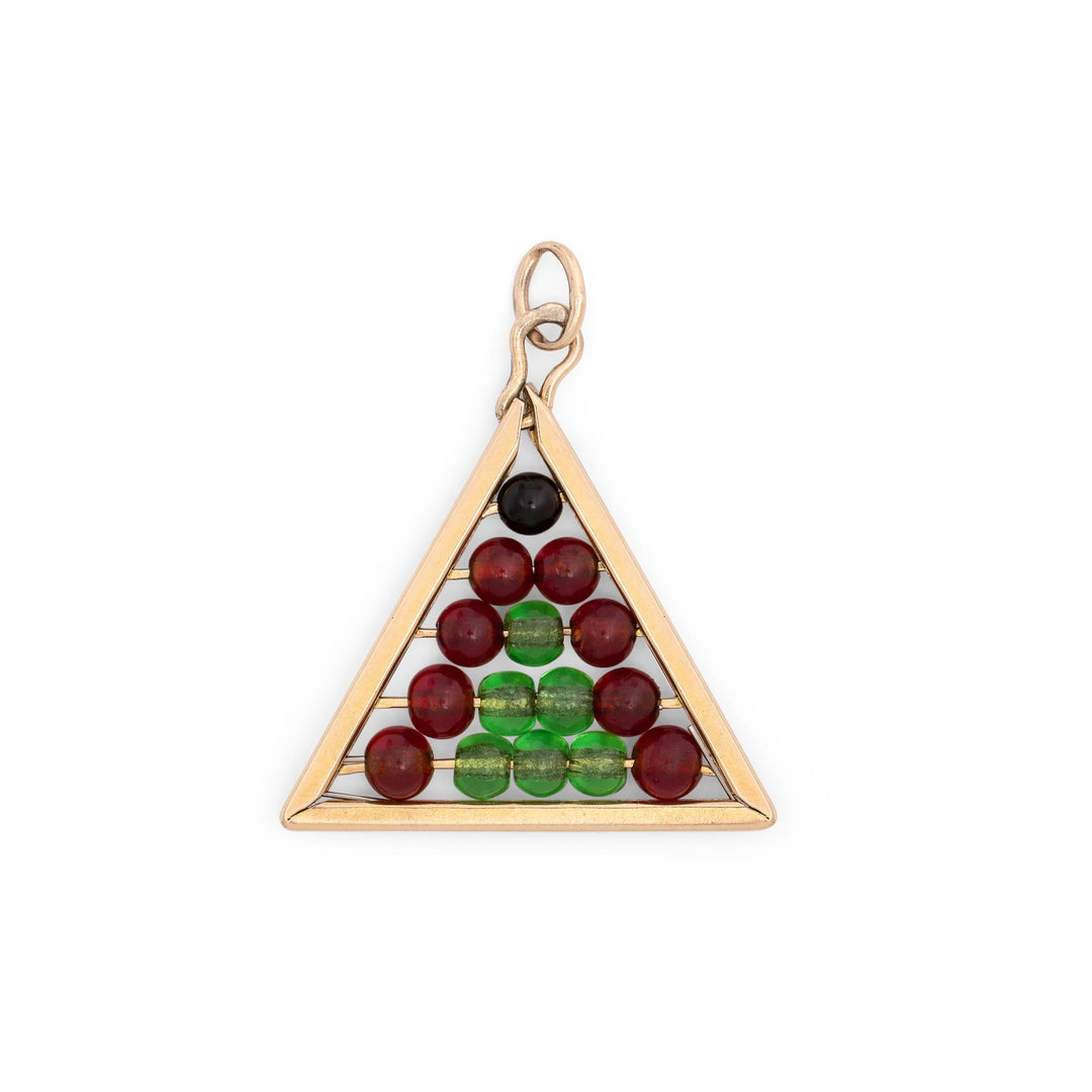 Movable Pyramid Abacus 14k Gold Charm