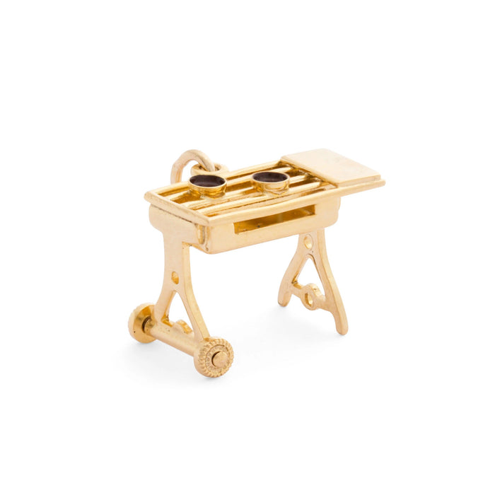 Movable Grill 14k Gold and Enamel Charm