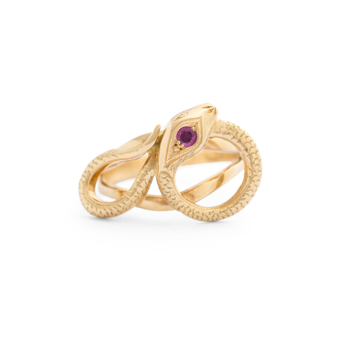 Victorian 18k Gold And Ruby Snake Ring