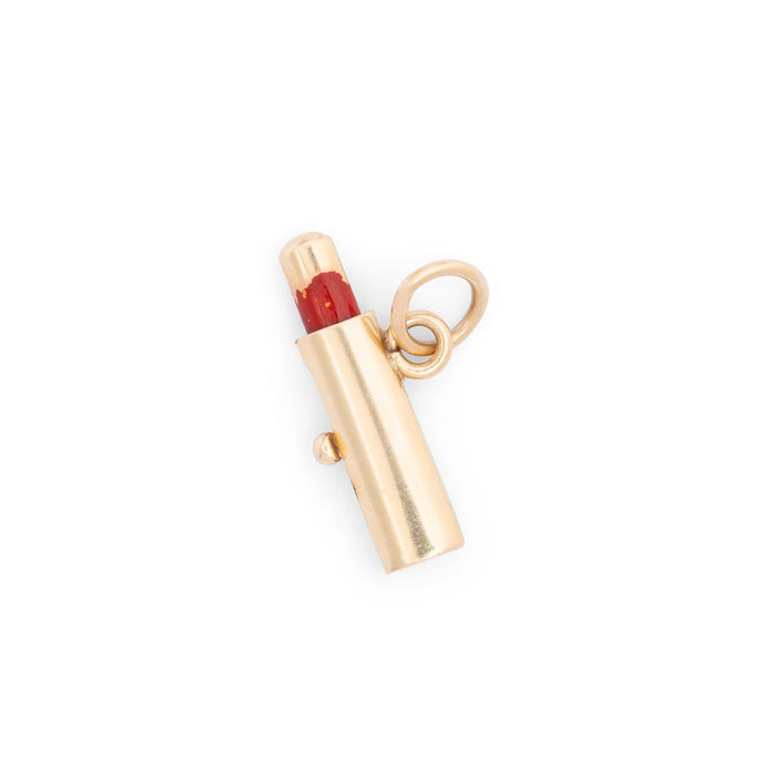 Movable Lipstick 14k Gold and Enamel Charm