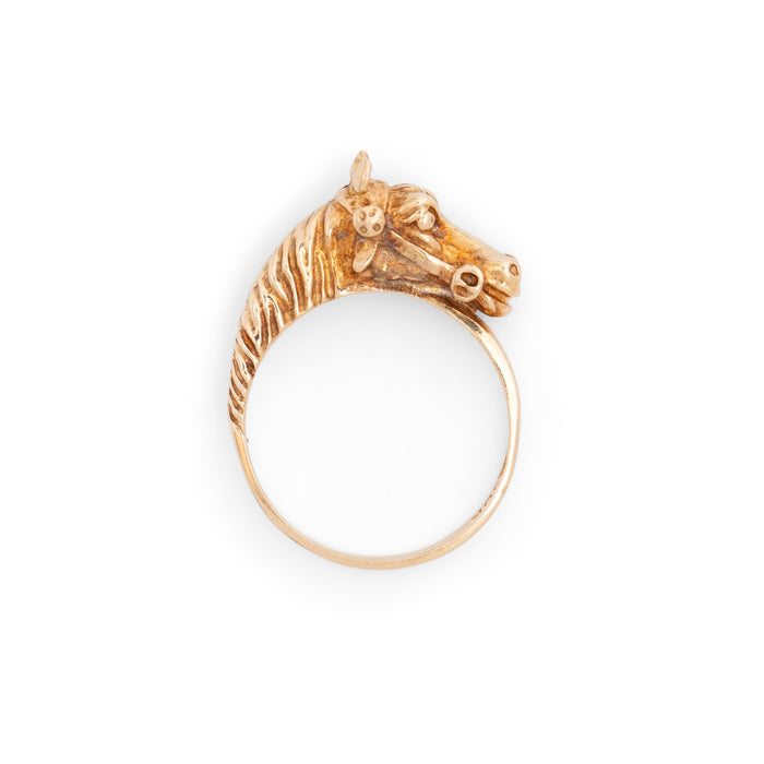 Horse Head 10k Yellow Gold Ring