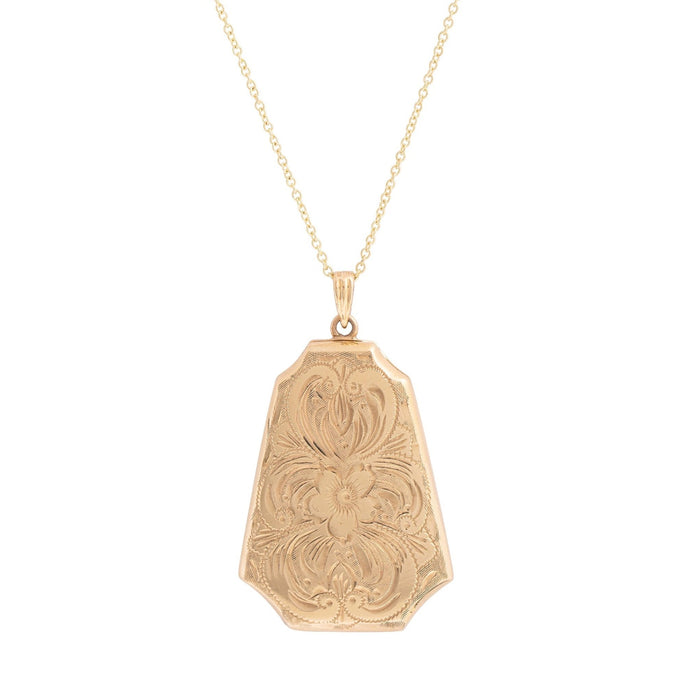 Engraved 10k Gold Elongated Locket