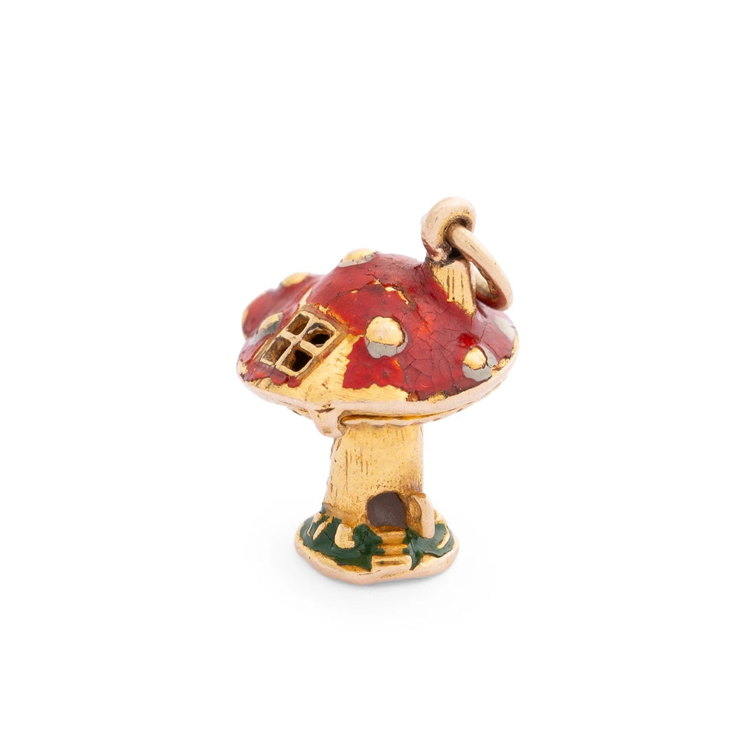 Movable Mushroom House and Gnome 14K Gold and Enamel Charm