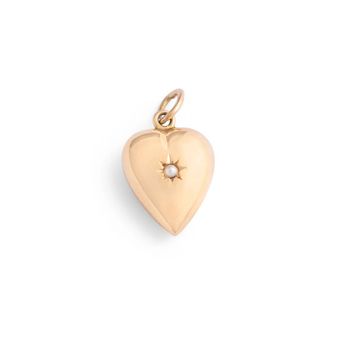 Heart and Pearl Startburst 14K Gold Charm