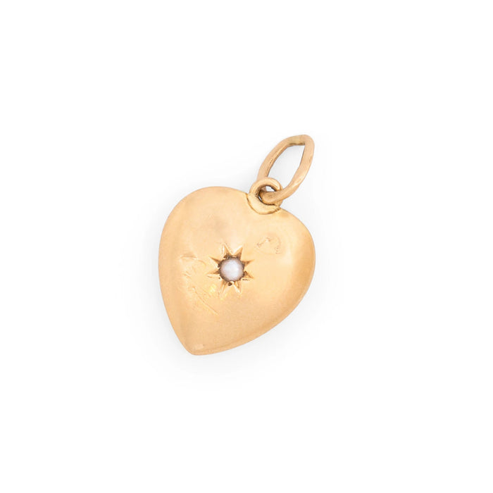 Petite 14K Gold Heart and Pearl Starburst Charm