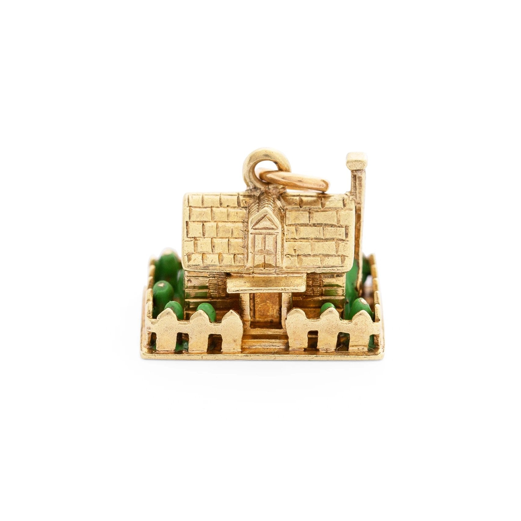 3-Dimensional House 14K Gold and Enamel