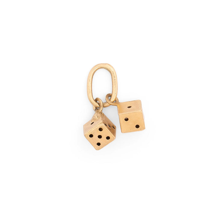 Italian Petite Pair of Dice 14K Gold Charm