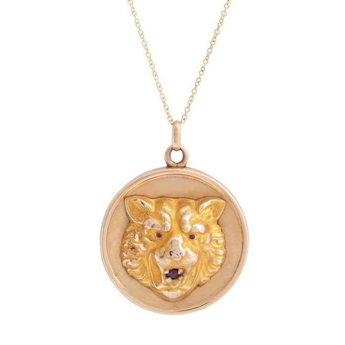 Victorian Lion's Head 14k Gold and Garnet Locket